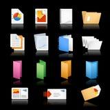 Iconos//de la impresión y de la oficina fondo negro Imagenes de archivo