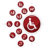 Iconos de la incapacidad Foto de archivo libre de regalías