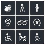Iconos de la incapacidad fijados Foto de archivo