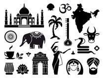 Iconos de la India Imágenes de archivo libres de regalías