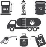 Iconos de la industria de la gasolina y de petróleo Imagenes de archivo