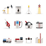 Iconos de la industria del petróleo y de la gasolina Foto de archivo libre de regalías