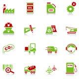 Iconos de la industria - serie verde-roja Foto de archivo