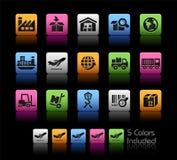 Iconos de la industria y de la logística Foto de archivo libre de regalías