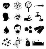 Iconos de la infección del virus fijados Foto de archivo libre de regalías