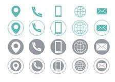 Iconos de la información de contacto de la tarjeta de visita del vector azules Foto de archivo