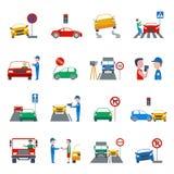 Iconos de la infracción de tráfico fijados Imagen de archivo