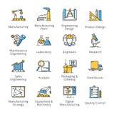 Iconos de la ingeniería de la fabricación - serie del esquema Fotografía de archivo