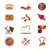 Iconos de la insignia de la industria del hotel, del centro turístico y del restaurante Foto de archivo libre de regalías