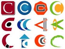 Iconos de la insignia de la letra C Fotos de archivo