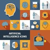 Iconos de la inteligencia artificial fijados Foto de archivo libre de regalías