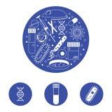Iconos de la investigación de la inmunología Fotografía de archivo