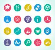 Iconos de la investigación científica Imagenes de archivo
