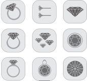 Iconos de la joyería del diamante Fotos de archivo libres de regalías