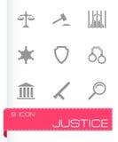 Iconos de la justicia del vector fijados Fotografía de archivo