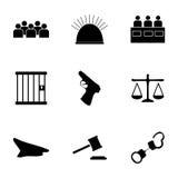 Iconos de la justicia del vector fijados Imagen de archivo