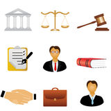 Iconos de la justicia y de la ley stock de ilustración