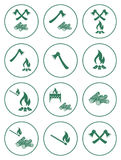Iconos de la leña, del hacha y de los partidos Foto de archivo libre de regalías