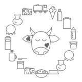 Iconos de la leche y de los productos lácteos Los iconos de la lechería arreglaron en un círculo en el estilo de la línea stock de ilustración