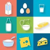 Iconos de la lechería fijados - estilo plano ilustración del vector