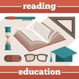 Iconos de la lectura de la educación fijados Foto de archivo libre de regalías