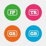 Iconos de la lengua Traducción de JP, del TR, de GR y del GB Imágenes de archivo libres de regalías