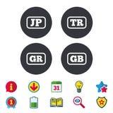 Iconos de la lengua Traducción de JP, del TR, de GR y del GB Foto de archivo