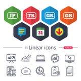 Iconos de la lengua Traducción de JP, del TR, de GR y del GB Imagen de archivo