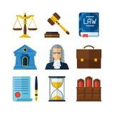 Iconos de la ley fijados en estilo plano del diseño
