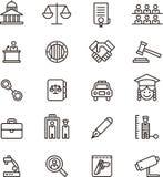 Iconos de la ley y de la justicia Foto de archivo libre de regalías
