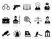 Iconos de la ley y de la justicia fijados Imágenes de archivo libres de regalías