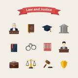 Iconos de la ley y de la justicia fijados Foto de archivo