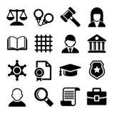 Iconos de la ley y de la justicia fijados Vector Fotografía de archivo