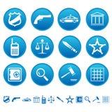 Iconos de la ley y de la orden Fotos de archivo libres de regalías