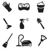Iconos de la limpieza Foto de archivo libre de regalías