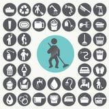 iconos de la limpieza fijados fotografía de archivo libre de regalías