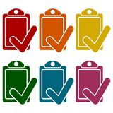Iconos de la lista de control fijados Fotos de archivo libres de regalías