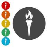 Iconos de la llama de la antorcha Símbolos llameantes del fuego ilustración del vector
