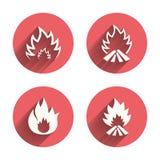 Iconos de la llama del fuego Muestras del calor Foto de archivo