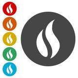 Iconos de la llama del gas fijados ilustración del vector