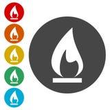 Iconos de la llama del gas fijados stock de ilustración
