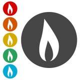 Iconos de la llama fijados stock de ilustración