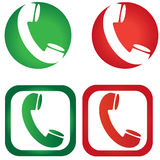 Iconos de la llamada de teléfono del vector Fotos de archivo libres de regalías