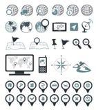 Iconos de la localización y de la destinación Imagen de archivo libre de regalías
