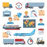 Iconos de la logística fijados Imágenes de archivo libres de regalías
