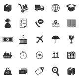Iconos de la logística en el fondo blanco Fotografía de archivo