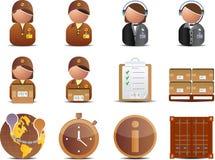 Iconos de la logística y de la salida Fotografía de archivo