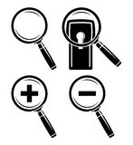 Iconos de la lupa fijados Imagen de archivo