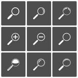 Iconos de la lupa y del zoom Imágenes de archivo libres de regalías