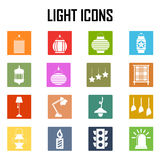 Iconos de la luz y de la linterna del vector fijados Libre Illustration